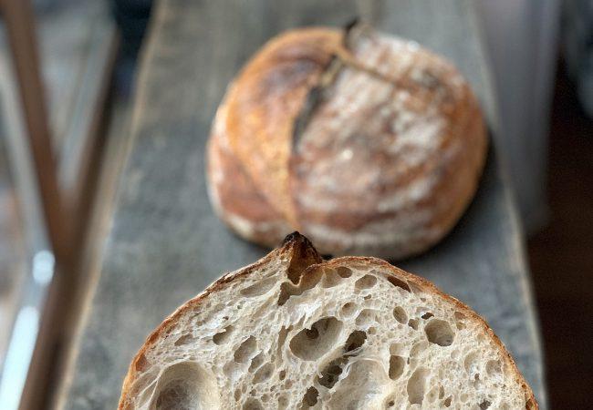 Open crumb. Tartine style bread